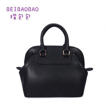 【BEIBAOBAO】繽紛馬卡龍真皮手提側背包(時尚黑 共六色)