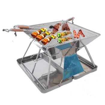 WASHAMl-烤四方焚火台-折疊不鏽鋼燒烤架(2016加大加厚盒裝版)