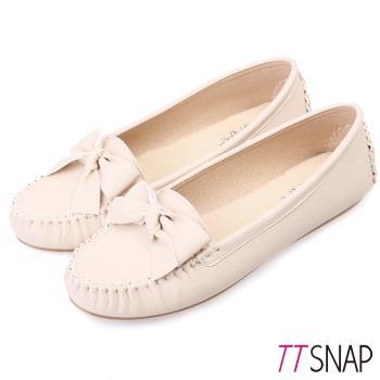 TTSNAP莫卡辛-MIT緞帶蝴蝶結真皮豆豆鞋 -優雅米