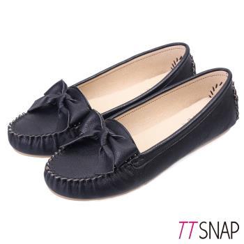 TTSNAP莫卡辛-MIT緞帶蝴蝶結真皮豆豆鞋-經典黑