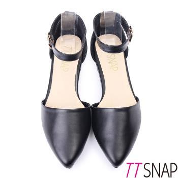 TTSNAP尖頭鞋-MIT簡約素面繫踝平底鞋-經典黑