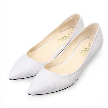 TTSNAP尖頭鞋-MIT細緻小蜥蜴紋真皮低跟鞋-質感灰