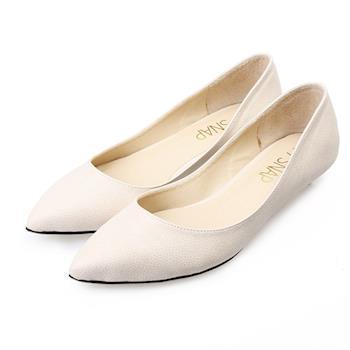 TTSNAP尖頭鞋-MIT細緻小蜥蜴紋真皮低跟鞋-優雅米