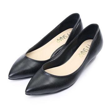 TTSNAP尖頭鞋-MIT細緻小蜥蜴紋真皮低跟鞋-經典黑