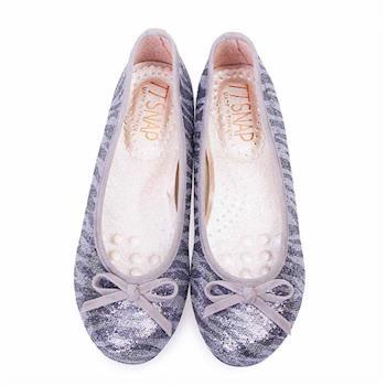 TTSNAP娃娃鞋-MIT斑馬紋亮片蝴蝶結柔軟Q平底鞋-低調灰