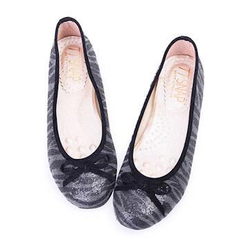 TTSNAP娃娃鞋-MIT斑馬紋亮片蝴蝶結柔軟Q平底鞋-百搭黑