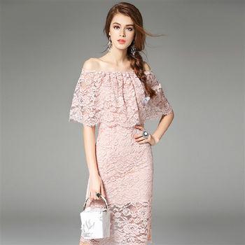 【M2M】鬆緊肩一字領荷葉邊純色蕾絲洋裝