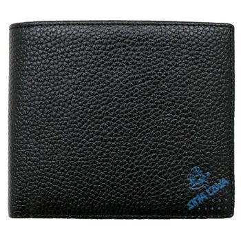 SINA COVA 老船長荔紋牛皮短皮夾SC31603-1-黑