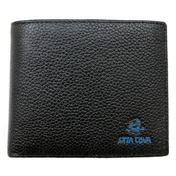SINA COVA 老船長荔紋牛皮短皮夾SC31602-1-黑