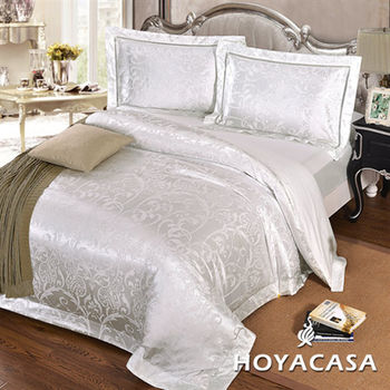 HOYACASA伊斯佰納 雙人四件式絲棉緹花被套床包組