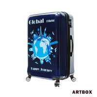 【ARTBOX】蔚藍城市 - 28吋可加大飛機輪鏡面硬殼行李箱(世界旅行)