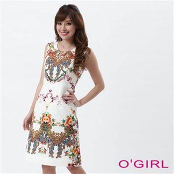 【OGIRL】盤花圖騰A字修飾背心洋裝