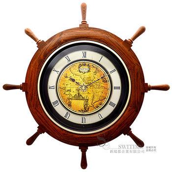 【RHYTHM日本麗聲】 航海時代船舵造型整點報時音樂舞台掛鐘