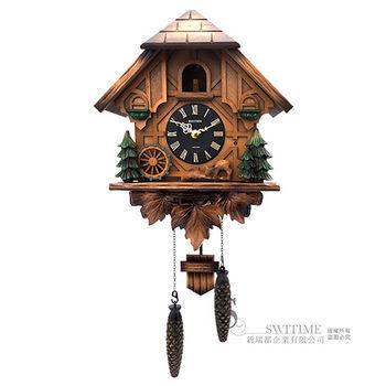 【RHYTHM日本麗聲】 經典黑森林木屋旋轉水車布穀鳥報時咕咕鐘