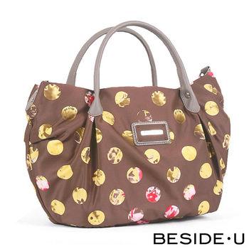 BESIDE-U - Retro Wonderland系列摩登綺麗手提側背包 - 野馬棕
