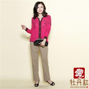 【牡丹紅服飾】韓版顯瘦彈性鬆緊腰直筒長褲【卡其色】〈現貨+預購〉