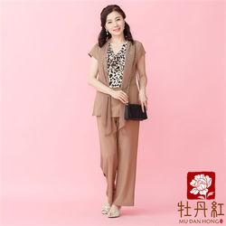 牡丹紅服飾超熱賣經典雪紡冰絲棉豹紋時尚窄版褲套裝米色〈現貨+預購〉