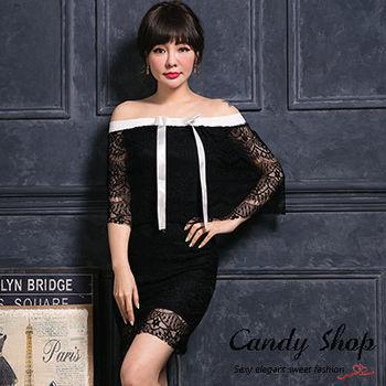 Candy小舖 兩穿一字領緞帶蕾絲設計洋裝-黑色0097663