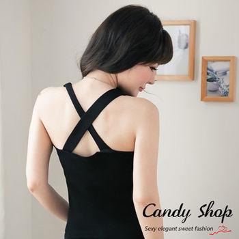 Candy小舖 百搭V領素色針織背心 - 黑色