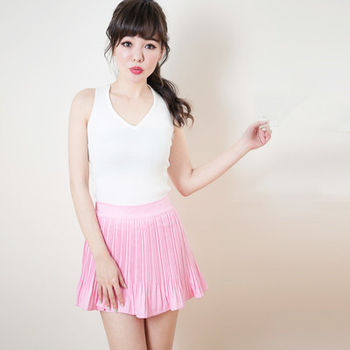 Candy小舖 百搭V領素色針織背心 - 白色