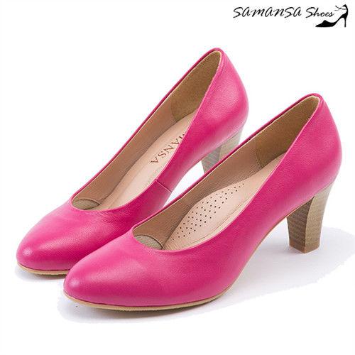 莎曼莎手工鞋【MIT全真皮】歐美經典復古素色粗跟仿木紋中跟鞋--#14401 俏麗桃