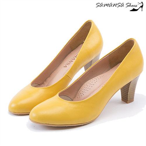 莎曼莎手工鞋【MIT全真皮】歐美經典復古素色粗跟仿木紋中跟鞋--#14401 亮麗黃 42/96