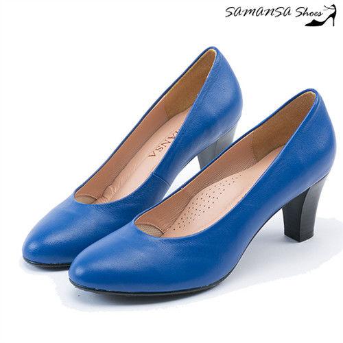 莎曼莎手工鞋【MIT全真皮】歐美經典復古素色粗跟仿木紋中跟鞋--#14401 水漾藍