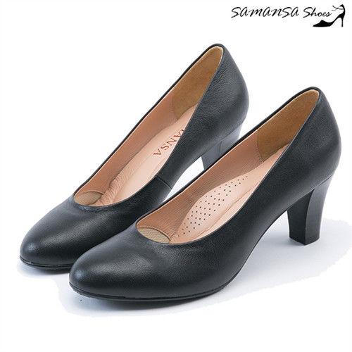 莎曼莎手工鞋【MIT全真皮】歐美經典復古素色粗跟仿木紋中跟鞋--#14401 經典黑