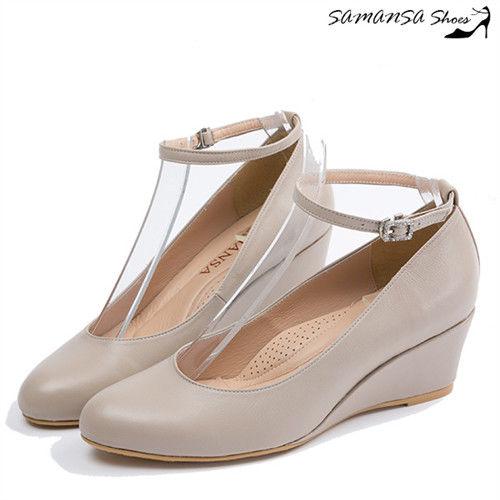 莎曼莎手工鞋【MIT全真皮】氣質百搭繫帶兩穿式楔形中跟鞋--#14304 優雅米