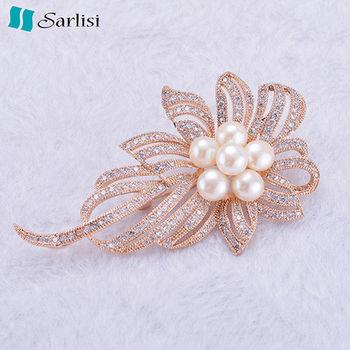 【Sarlisi】精緻胸花微鑲鋯石珍珠胸針(金色)