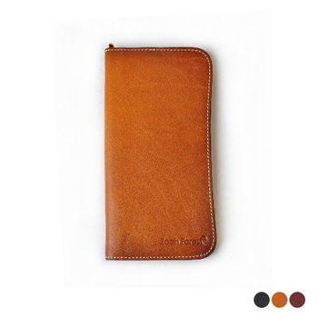 【Zoeh-Forest】手創品牌100%植鞣真皮簡約長皮夾 長夾 皮夾 錢包 皮包 零錢(3色)