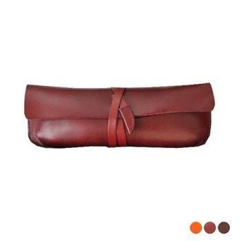 【Zoeh-Forest】100%牛皮手工植鞣繞皮繩眼鏡袋 眼鏡盒 萬用包 手作小包 筆袋--3色