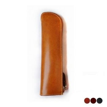 【Zoeh-Forest】100%植鞣牛皮 皮革拉鍊粗縫線鉛筆盒 鉛筆袋 文具 工具組 收納袋(4色)