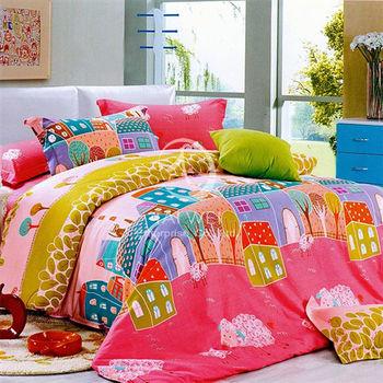 【卡莎蘭】鄉村生活 加大全舖棉四件式兩用被床包組