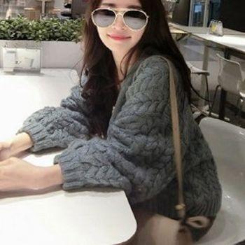 [協賀]韓版麻花針織衫開衫