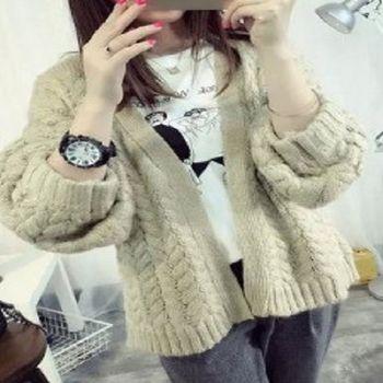 [協賀]粗線毛衣開衫外套