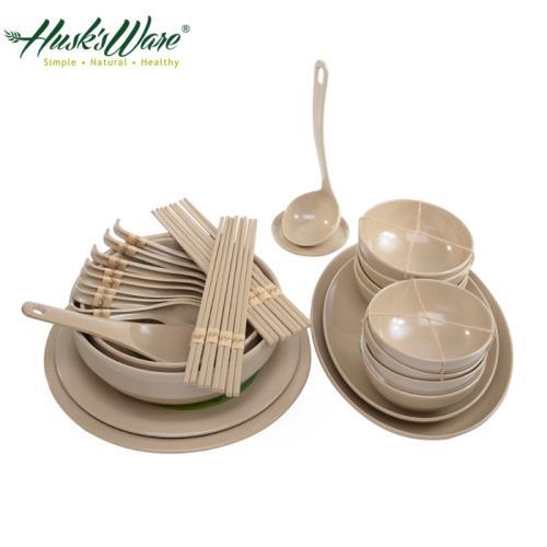 【美國Husks ware】稻殼天然無毒環保碗盤餐具32件組