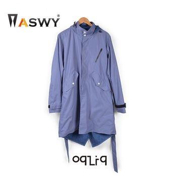 ASWY - OqLiq 雙面穿經典軍外套 (紫藍L)