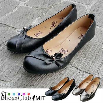 【Shoes Club】【023-519】台灣製MIT 蝴蝶結水鑽低跟娃娃鞋.2色 黑/銀灰