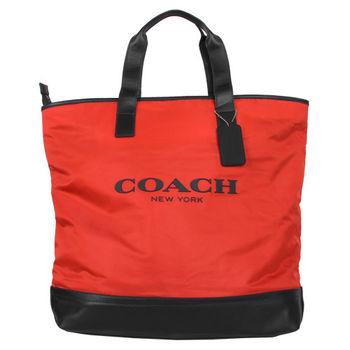 COACH PVC/皮革拉鍊手提肩背包包(橘紅/黑)