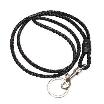 BOTTEGA VENETA 經典編織小羊皮吊繩鑰匙圈(長-黑)