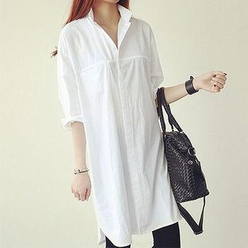 。DearBaby。韓系個性簡約長版襯衫(白色)*預購