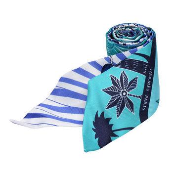 HERMES Mythiques鳳凰鳥森林Twilly絲巾/領結(湖水綠X藍)