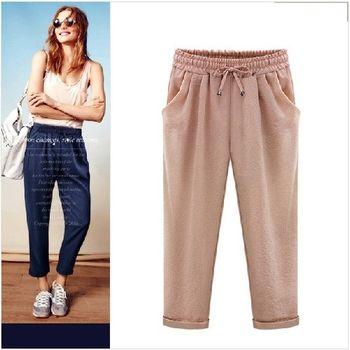 (現貨+預購 RN-girls)-歐美夏季新款寬鬆顯瘦九分哈倫褲