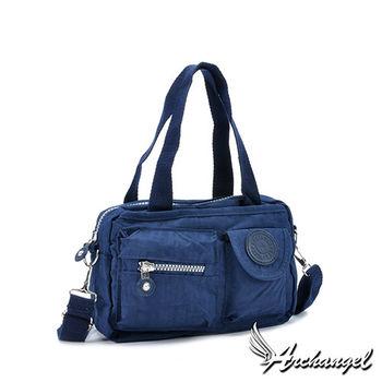 阿卡天使防水尼龍帆布輕旅行手提肩背斜背包(5色)靛寶藍FB833-DB