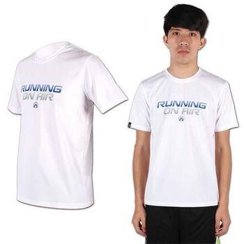 【FIRESTAR】男圓領短袖-吸溼排汗 T恤 上衣 休閒 慢跑 路跑 白藍灰