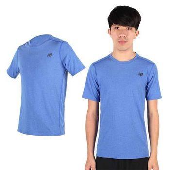 【NEWBALANCE】男短袖T恤-短T NB 圓領 慢跑 路跑 運動 休閒 藍銀