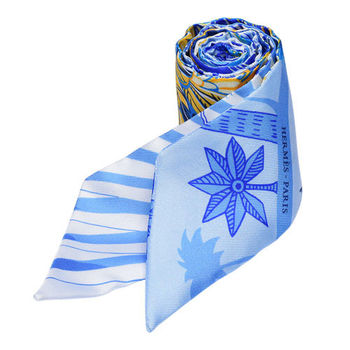 HERMES Mythiques鳳凰鳥森林Twilly絲巾/領結(藍)