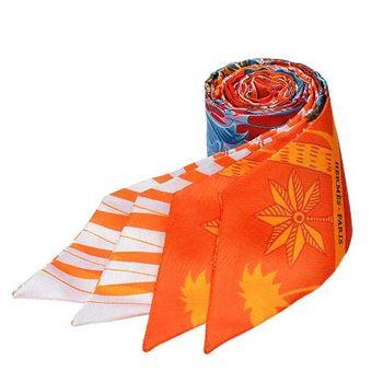 HERMES Mythiques鳳凰鳥森林Twilly絲巾/領結(橘-一組兩條)