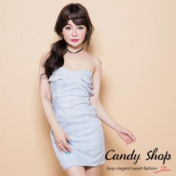 Candy小舖 露肩平口格紋合身短洋裝-藍色